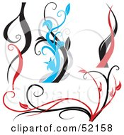 Poster, Art Print Of Digital Collage Of Red Black And Blue Vine Elements