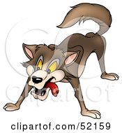 Royalty Free RF Clipart Illustration Of An Intimidating Hungry Brown Wolf by dero