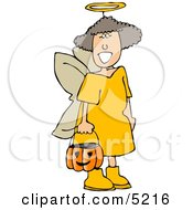 Girl Wearing Halloween Angel Costume While Trick Or Treating Clipart