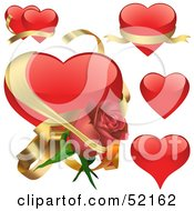 Royalty Free RF Clipart Illustration Of A Digital Collage Of Red Love Heart Elements Version 5