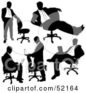 Royalty Free RF Clipart Illustration Of A Digital Collage Of Businessman Silhouettes Version 30 by dero