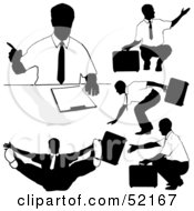 Digital Collage Of Businessman Silhouettes Version 37