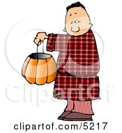 Boy Wearing Halloween Pajamas Costume While Trick Or Treating Clipart