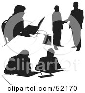 Royalty Free RF Clipart Illustration Of A Digital Collage Of Businessman Silhouettes Version 13 by dero