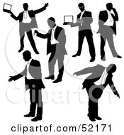 Royalty Free RF Clipart Illustration Of A Digital Collage Of Businessman Silhouettes Version 3 by dero