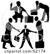 Royalty Free RF Clipart Illustration Of A Digital Collage Of Businessman Silhouettes Version 12 by dero