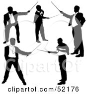 Royalty Free RF Clipart Illustration Of A Digital Collage Of Businessman Silhouettes Version 23 by dero