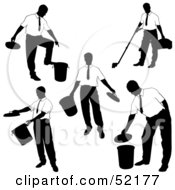 Royalty Free RF Clipart Illustration Of A Digital Collage Of Businessman Silhouettes Version 35