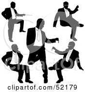 Digital Collage Of Businessman Silhouettes Version 22