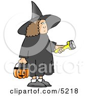 Girl Wearing Halloween Witch Costume While Trick Or Treating With A Candy Bucket And Flashlight Clipart