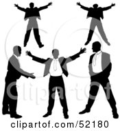 Digital Collage Of Businessman Silhouettes Version 18