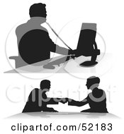 Poster, Art Print Of Digital Collage Of Businessman Silhouettes - Version 4