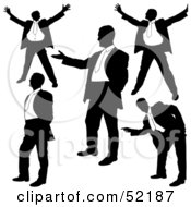 Royalty Free RF Clipart Illustration Of A Digital Collage Of Businessman Silhouettes Version 1 by dero