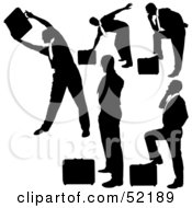 Royalty Free RF Clipart Illustration Of A Digital Collage Of Businessman Silhouettes Version 16 by dero