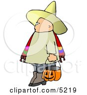 Boy Wearing Halloween Sombrero Costume While Trick Or Treating Clipart by djart