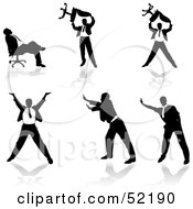 Royalty Free RF Clipart Illustration Of A Digital Collage Of Businessman Silhouettes Version 32 by dero