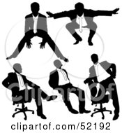 Royalty Free RF Clipart Illustration Of A Digital Collage Of Businessman Silhouettes Version 29 by dero