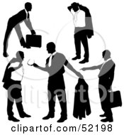 Royalty Free RF Clipart Illustration Of A Digital Collage Of Businessman Silhouettes Version 17 by dero