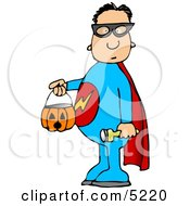 Boy Wearing Halloween Superhero Costume While Trick Or Treating Clipart