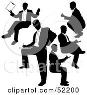 Royalty Free RF Clipart Illustration Of A Digital Collage Of Businessman Silhouettes Version 21 by dero