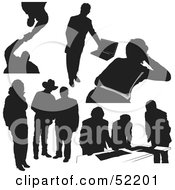 Royalty Free RF Clipart Illustration Of A Digital Collage Of Businessman Silhouettes Version 11 by dero