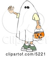 Boy Wearing Halloween Ghost Costume Clipart