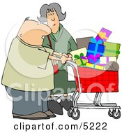 Husband And Wife Shopping Together For Christmas Presents At A Toy Store Clipart by djart