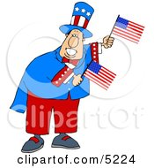 Humorous Uncle Sam Holding American Flags