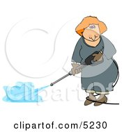 Woman Using A Pressure Washer Clipart