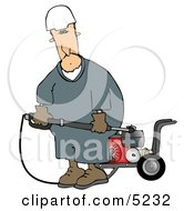 Man With A Heavy Duty High Performance Gas Powered Water Pressure Washer