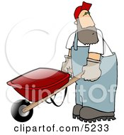 Man Pushing An Empty Wheelbarrow Clipart