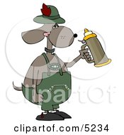 Humorous Anthropomorphic Dog Holding A Beer Stein While Celebrating Oktoberfest Clipart