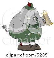 Humorous Elephant Holding A Beer Stein While Celebrating Oktoberfest - Holiday