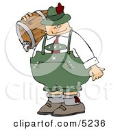 Oktoberfest Beer Man Carrying A Keg Clipart