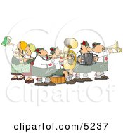 People Celebrating Oktoberfest With Live Music And Beer Clipart