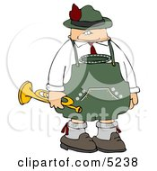 German Trumpet Player Celebrating Oktoberfest Clipart by djart