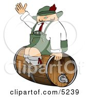 German Man Sitting On A Beer Keg During An Oktoberfest Celebration Clipart