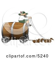 Humorous German Man Guiding Weiner Dogs Pulling An Oversized Wooden Beer Keg Wagon Clipart Oktoberfest