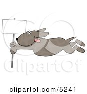 Dog Holding Onto A Blank Sign Pole While Being Blown Around In A Severe Tropical Wind Storm - Concept