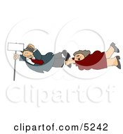 Woman And Man Holding Onto A Blank Sign Pole While Being Blown Around In A Severe Tropical Wind Storm Clipart