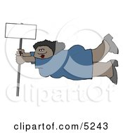African American Woman Onto A Blank Sign Pole While Being Blown Around In A Severe Tropical Wind Storm Clipart