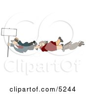 Woman Man And Dog Holding Onto A Blank Sign Pole While Being Blown Around In A Severe Tropical Wind Storm Clipart Clipart