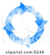 Cloudy Blue Sky Arrows Turning Clockwise Clipart Concept