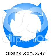 Blue Circle Of Arrows Turning Clockwise Clipart