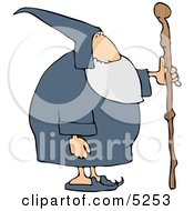 Old Wizard With Wooden Staff Clipart