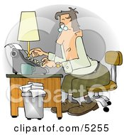 Busy Man Typing On A Typwriter In His Office At A Publishing Firm Clipart