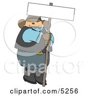 Fat Cowboy Holding A Blank Sign Clipart Illustration
