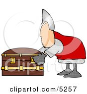 Soldier Opening A Wooden Treasure Chest Clipart Illustration