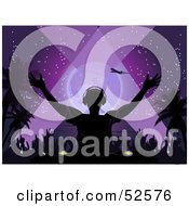 Royalty Free RF Clipart Illustration Of A Silhouetted Dj Playing Music At A Tropical Beach Party In The Purple Night