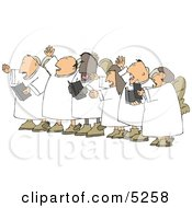 Chorus Angels Singing Together Clipart Illustration